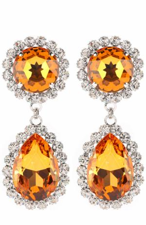 Серьги-клипсы с кристаллами и стразами Alessandra Rich. Цвет: оранжевый