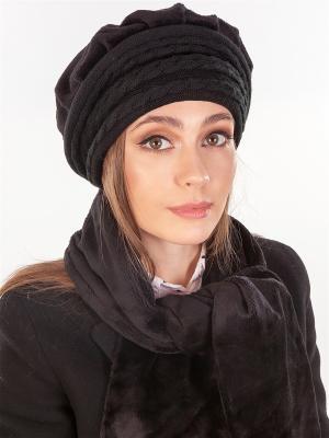 Берет, с шарфом LORICCI. Цвет: черный