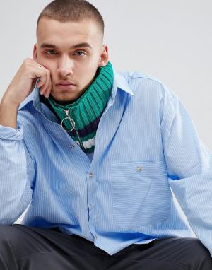ASOS Зеленый вязаный шарф-снуд с полоской и кольцом на бегунке молнии. Цвет: зеленый