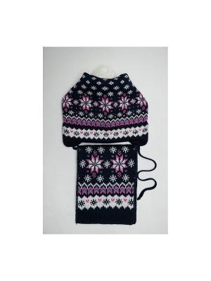 Шапка, шарф Tricotier. Цвет: синий, белый