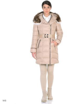 Стеганое пальто MONEY & YOU. Цвет: светло-бежевый