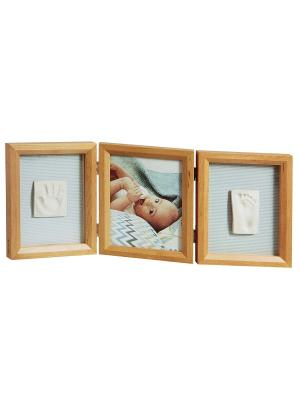 Рамочка тройная Классика; дерево Baby Art. Цвет: светло-коричневый
