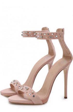 Замшевые босоножки с кристаллами на шпильке Giuseppe Zanotti Design. Цвет: светло-розовый