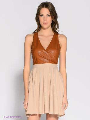 Платье Eunishop. Цвет: бежевый, коричневый