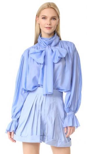 Блуза с бантом Pussy Vika Gazinskaya. Цвет: фиолетовый/синий