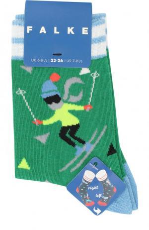 Носки с принтом Falke. Цвет: зеленый