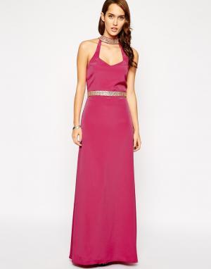 VLabel London Длинное платье-халтер Strand. Цвет: розовый