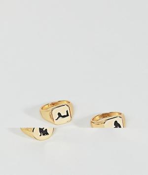 ASOS Набор золотистых колец с печатками и гравировкой. Цвет: золотой