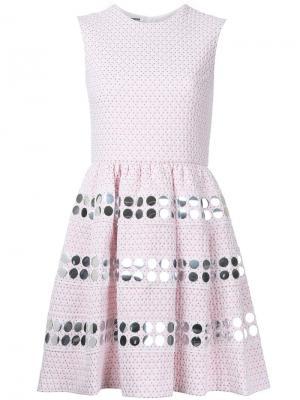 Расклешенное декорированное платье Jourden. Цвет: розовый и фиолетовый
