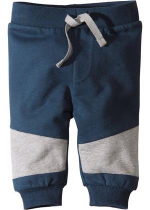 Мода для малышей: трикотажные брюки из органического хлопка (темно-синий/светло-серый меланж) bonprix. Цвет: темно-синий/светло-серый меланж