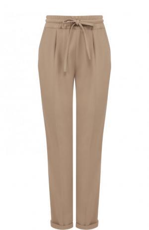 Укороченные брюки с эластичным поясом и отворотами Kiton. Цвет: бежевый