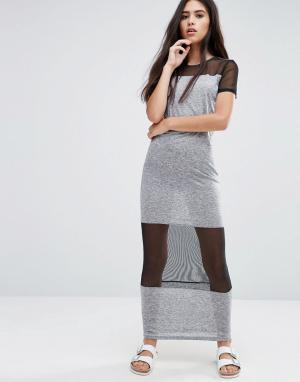 Pixie & Diamond Платье макси с сетчатыми вставками. Цвет: черный