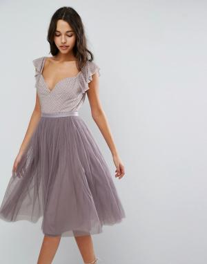 Needle & Thread Платье миди из тюля с рукавами рюшами Swan. Цвет: фиолетовый