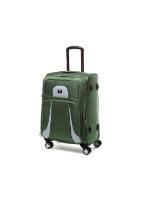 Чемодан-дорожная сумка на колесиках, размер S, 35.7 л Sun Voyage. Цвет: зеленый