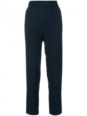 Зауженные брюки в тонкую полоску Ganni. Цвет: синий