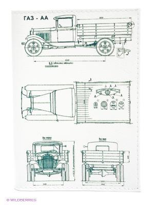 Обложка для паспорта Автомобиль в разрезе Mitya Veselkov. Цвет: белый, темно-серый