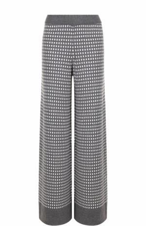 Шерстяные расклешенные брюки с принтом Tak.Ori. Цвет: серый