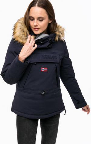 Утепленная куртка-анорак синего цвета Napapijri. Цвет: синий