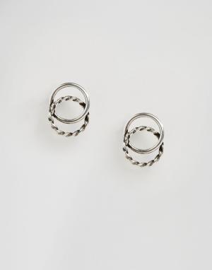Kingsley Ryan Серьги-гвоздики с двойными кольцами. Цвет: серебряный