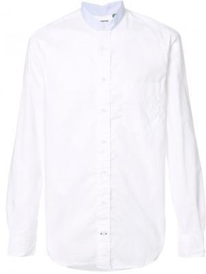Рубашка с воротником-стойкой Gitman Vintage. Цвет: белый