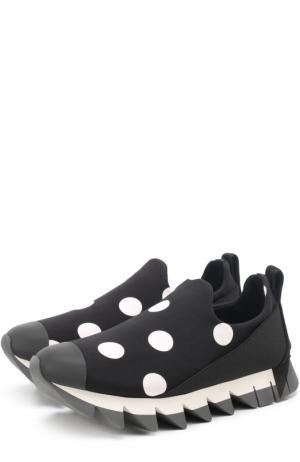 Комбинированные кроссовки Ibiza с принтом Dolce & Gabbana. Цвет: черно-белый