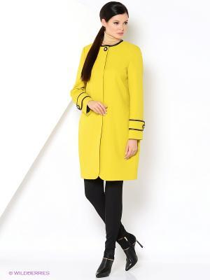 Пальто КАЛIНКА. Цвет: желтый