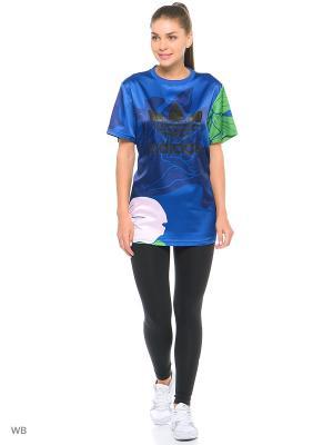 Футболка спортивная жен. BF TEE Adidas. Цвет: синий