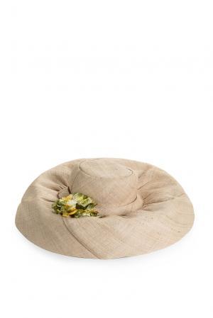 Шляпа с брошью 168074 Germano Zama. Цвет: бежевый