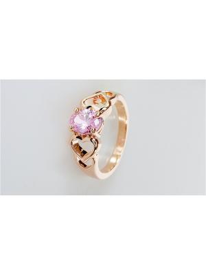 Кольцо фианит розовый сердечки Lotus Jewelry. Цвет: розовый
