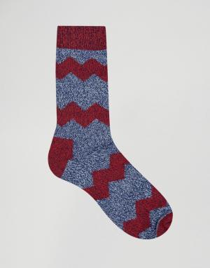 Happy Socks Толстые шерстяные носки с зигзагообразным узором. Цвет: синий