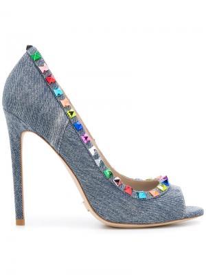 Туфли-лодочки с заклепками Gianni Renzi. Цвет: синий