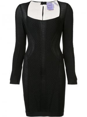 Жаккардовое приталенное платье Hervé Léger. Цвет: чёрный