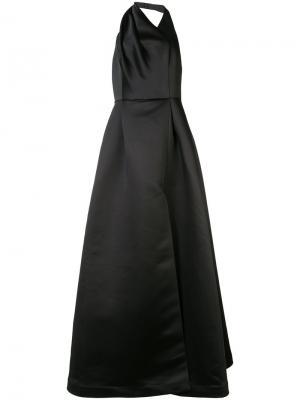 Длинное расклешенное платье Halston Heritage. Цвет: чёрный