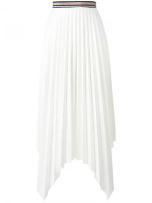 Плиссированная асимметричная юбка Aviù. Цвет: белый