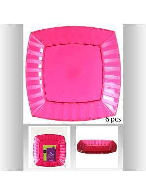 Набор тарелок квадратных пластиковых для пикника из 6 шт, 27 см JJA. Цвет: фуксия