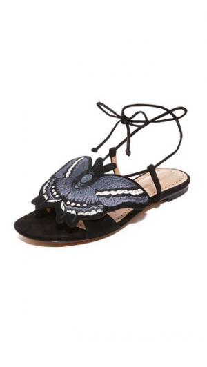 Обувь на плоской подошве с аппликацией в виде бабочки Alexa Wagner. Цвет: голубой