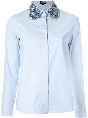 Рубашка с декорированным воротником Holly Fulton. Цвет: синий