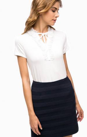 Белая футболка с оборками MORE &. Цвет: белый
