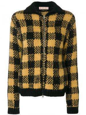 Куртка-бомбер в клетку Marni. Цвет: жёлтый и оранжевый