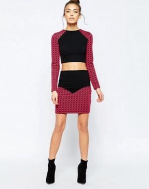 Hedonia Мини-юбка с контрастным геометрическим принтом Sella. Цвет: розовый