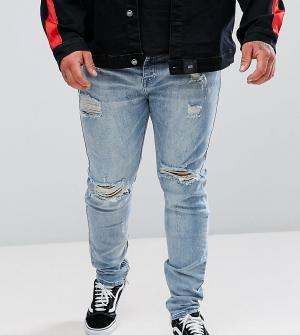 Sixth June Выбеленные обтягивающие джинсы с рваной отделкой PLUS. Цвет: синий