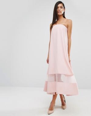 AQ Платье миди с прозрачной вставкой AQ/AQ Sinead. Цвет: розовый