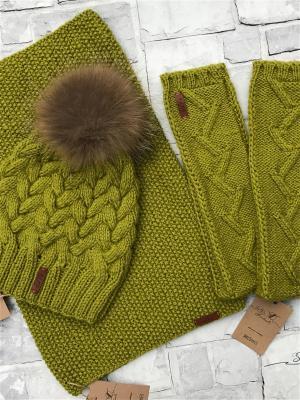 Комплект(шапка+снуд+митенки) Sava. Цвет: оливковый