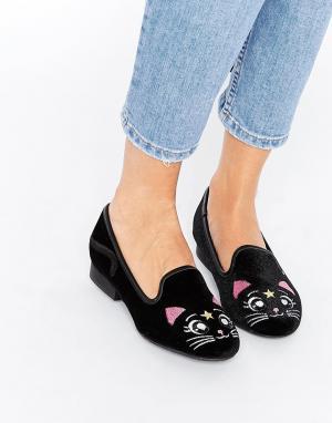 YRU Туфли-слиперы с кошками Luna. Цвет: черный