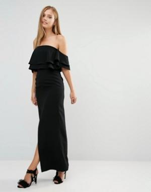 Keepsake Платье макси с двойной оборкой и разрезом по центру. Цвет: черный