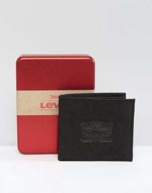 Levis Черный кожаный кошелек с тиснением. Цвет: черный