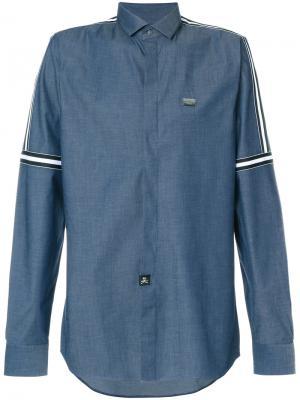 Полосатая рубашка Philipp Plein. Цвет: синий