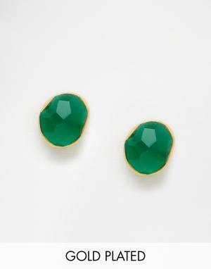 Taara Jewellery Серьги с покрытием из 22-каратного золота. Цвет: зеленый оникс