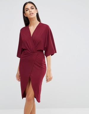 Club L Платье-кимоно из крепа с запахом. Цвет: фиолетовый