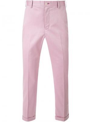Укороченные классические брюки Loveless. Цвет: розовый и фиолетовый
